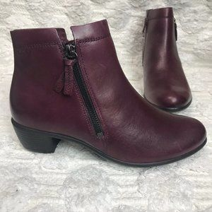 Ecco Touch 35 Burgundy Leather Ankle Boots
